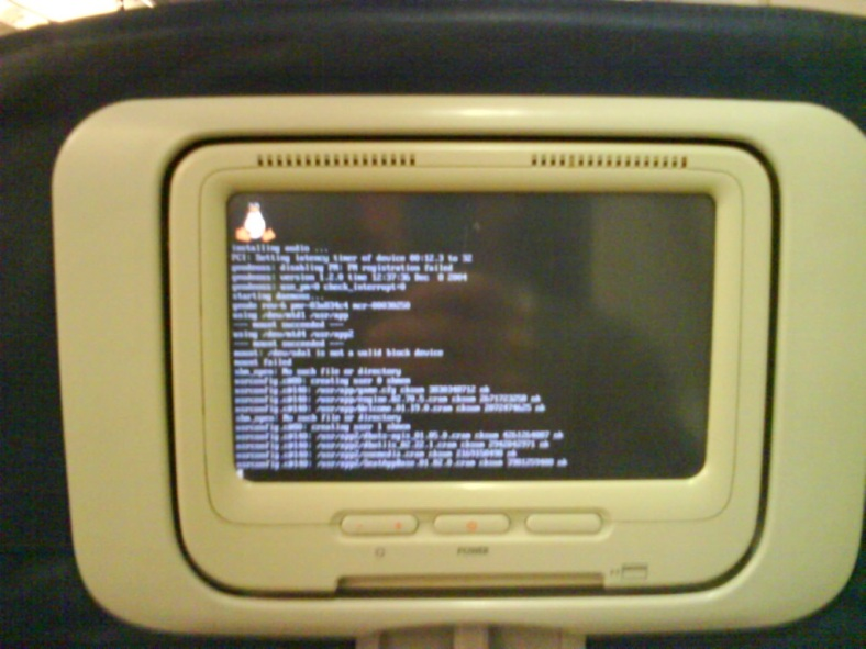 In-flight entertainment system booting linux